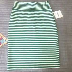 Green Striped Pencil Skirt Small New